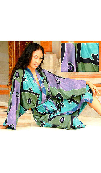 "Women's Robe - Rayon Batik Kimono - ""Seaside Blue"" Design - view 2"