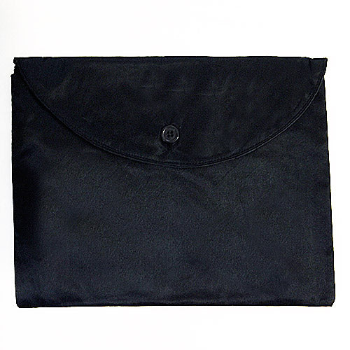Black 100% Silk Charmeuse Envelope Bag w/Button Closure