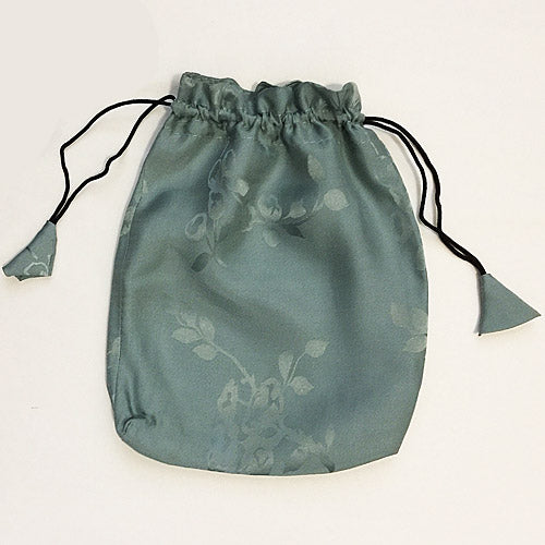 Small Drawstring Pouch - Printed Silk Jacquard in Sage Green