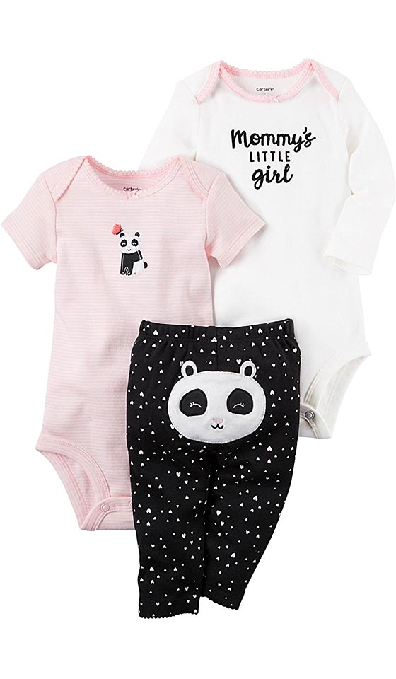 Infant Sleeper - Baby Girl's 3-Piece Panda Pajama Set by Carter's