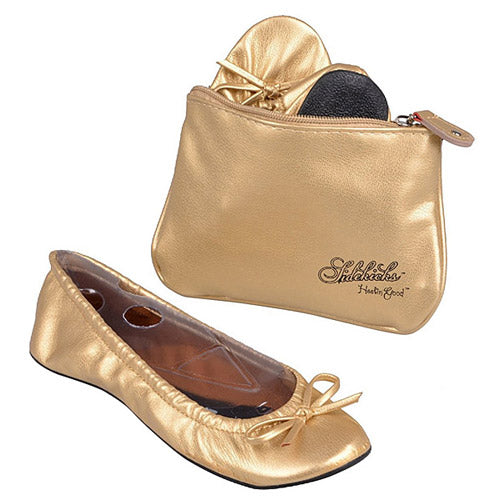 Women's Gold Sidekicks Folding Flat Shoes w/Carrying Case