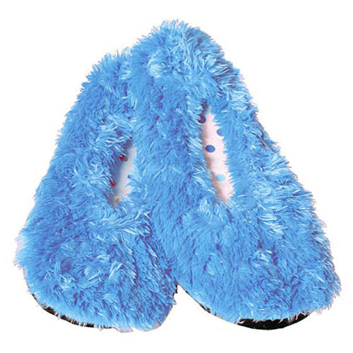 Women's cozy shaggy slip-on spa slippers blue, green, pink