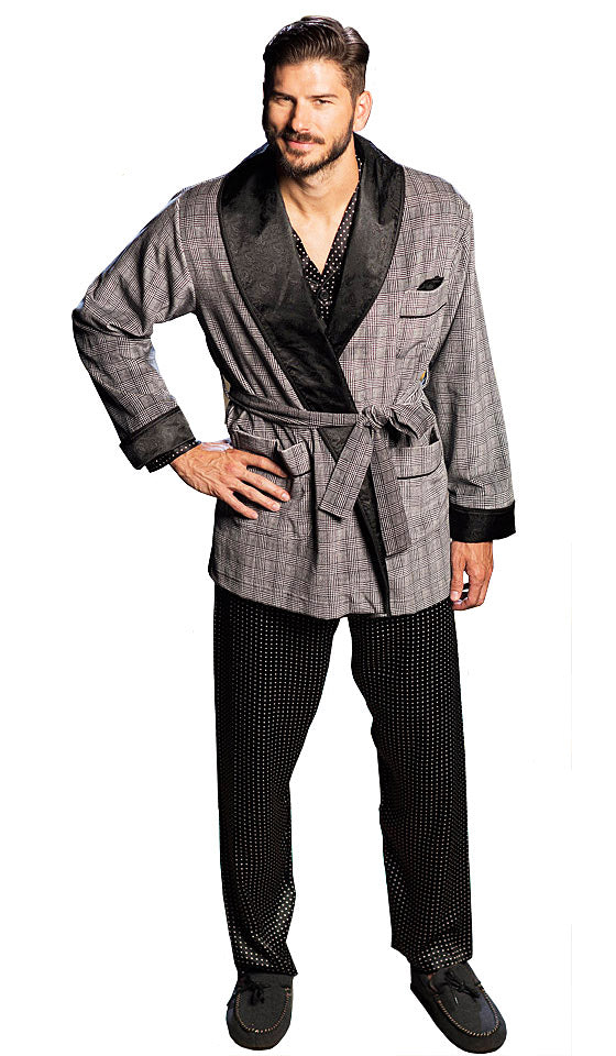 Men's Robe Black Houndstooth Plaid Smoking Jacket by Majestic International