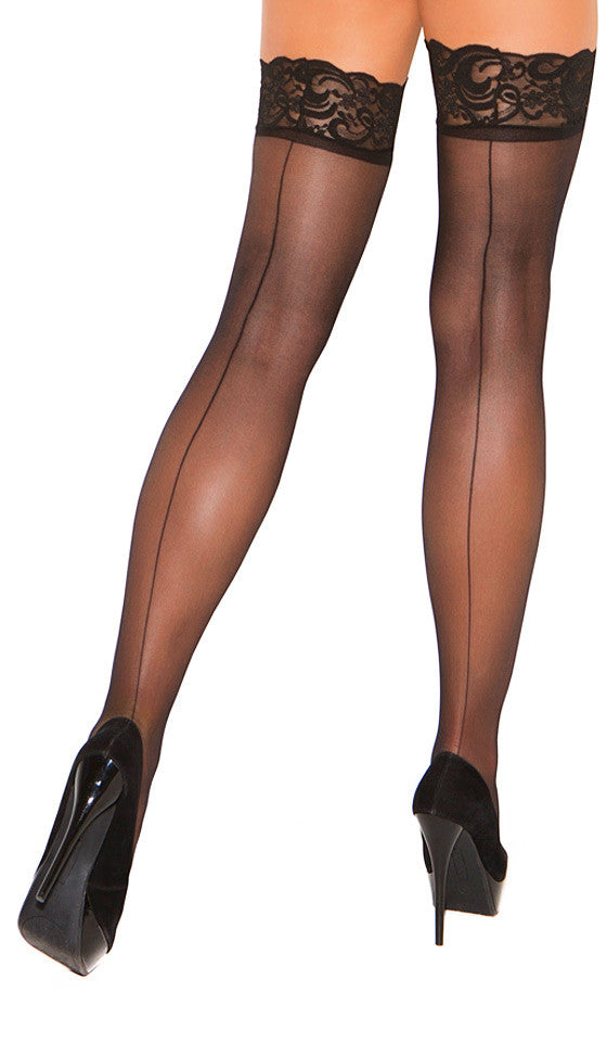 Women's Stockings - Black Lace-Top Thigh-High w/Back Seam