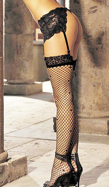 Women's Stockings - Black Fishnet w/Stretch Lace Top