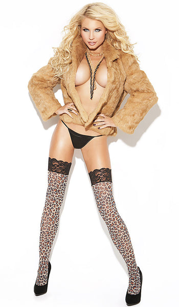 Women' Stockings - Leopard Print Lace-Top Thigh-High - view 2