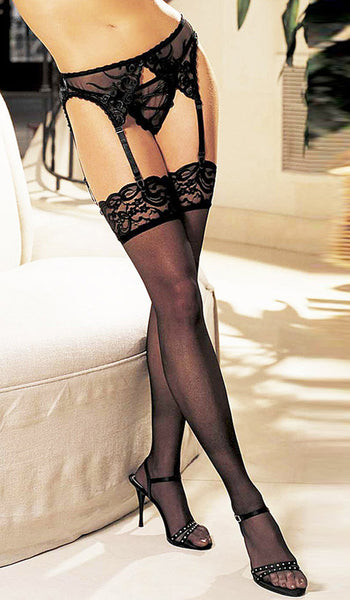 Women's Stockings - Black Nylon Lace Top Thigh-High