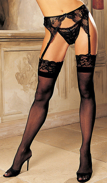 Women's Stockings - Black Nylon Lace Top w/Back Seams