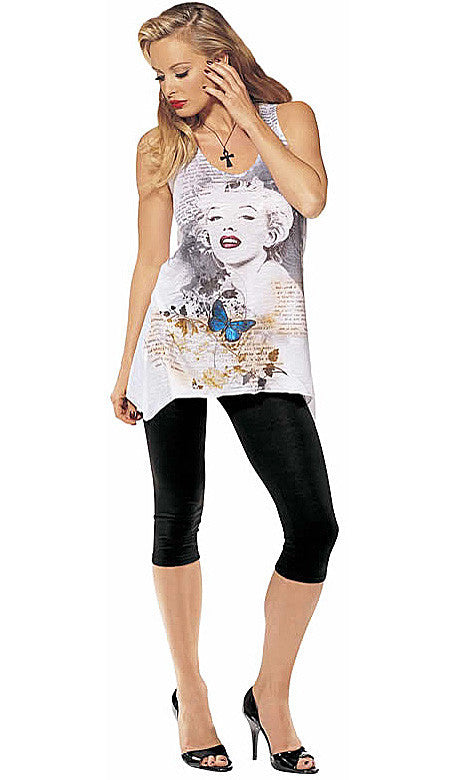 Tank Top - Marilyn Monroe Printed Cotton w/Back Cutout