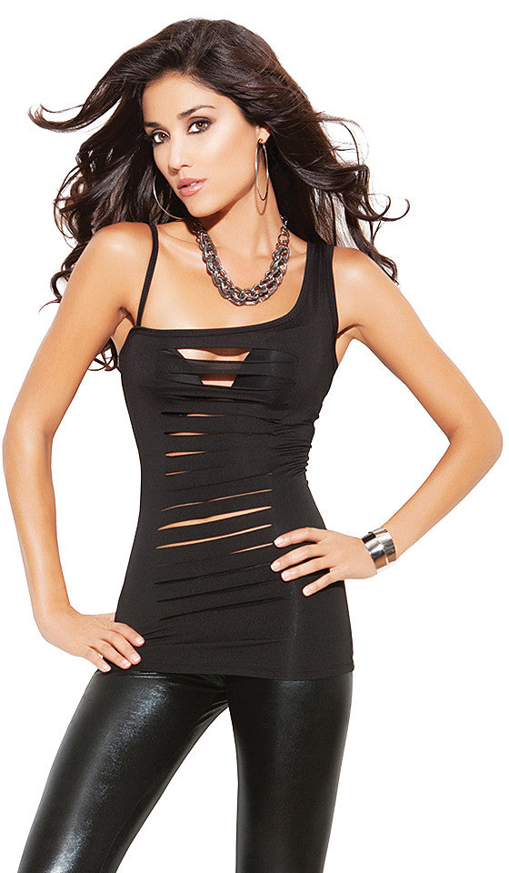 Women's black cutout knit one-shoulder tank top