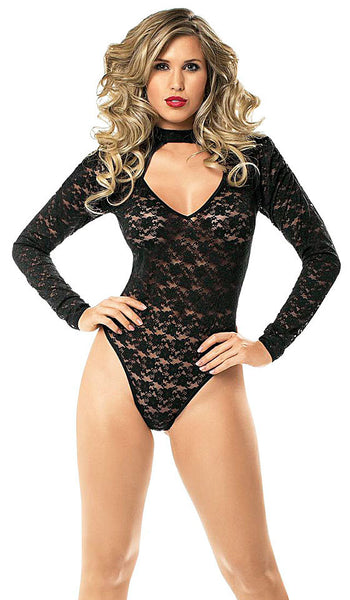 Women's Teddy - Black Long-Sleeve Hipster All-over Lace