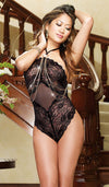 Women's Teddy - Black Stretch Lace w/Draped Gold Chains by Dreamgirl