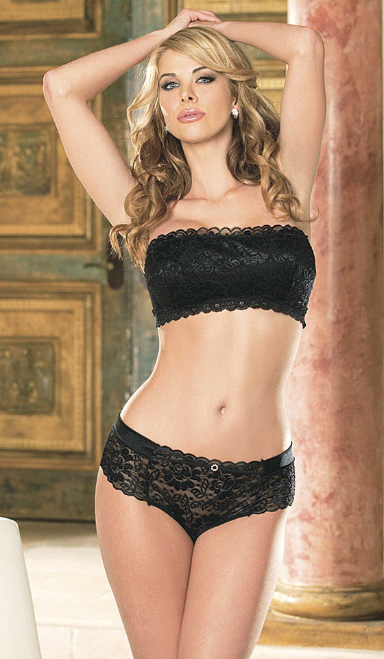 Women's Black Stretch Lace Bandeaux Top and Hipster Panty by Shirley of Hollywood