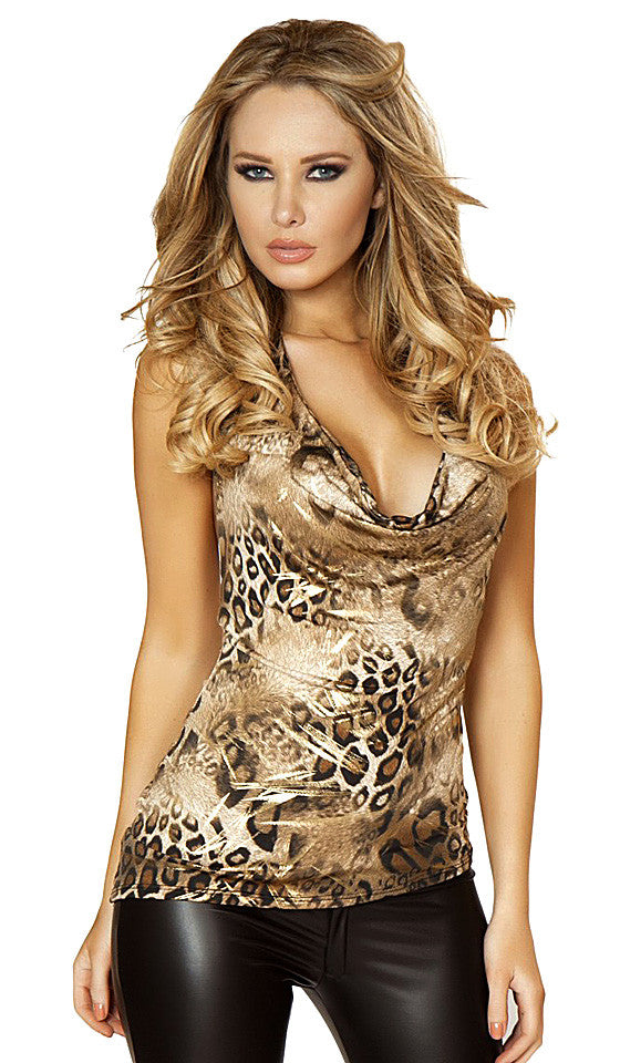 Women's Leopard Print Knit Halter Top