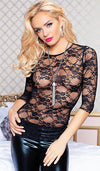 Women's Tunic Top - Black Stretch Lace Long-Sleeve by Seven 'til Midnight - view 2