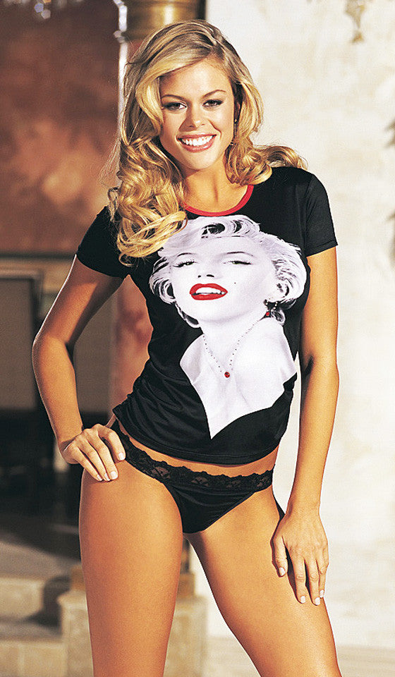 Women's T-Shirt - Marilyn Monroe Portrait Print Knit Tee & Thong Set