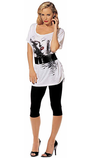 Women's T-Shirt - Marilyn Monroe Foil Red Lips Printed Tee with Belt