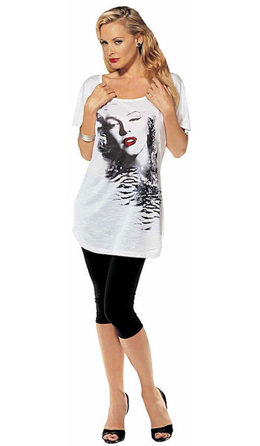 Women's T-Shirt - Marilyn Monroe Foil Red Lips Printed Tee