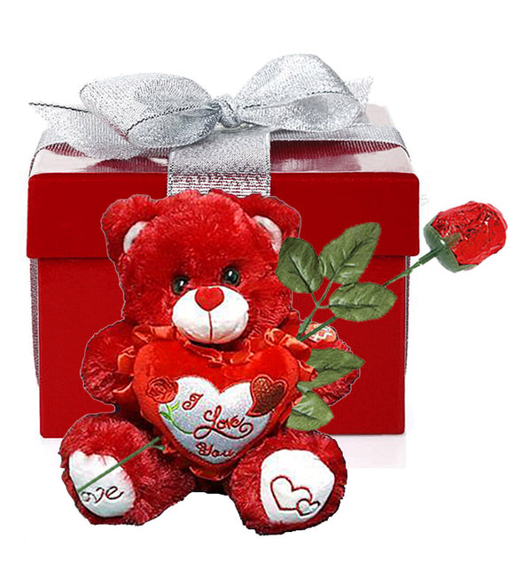"White Musical Valentine Bear Boxed Gift with Chocolate Candy Rose (10"" high)"