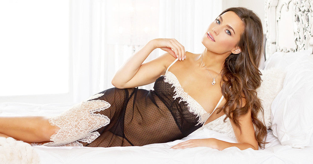 Women's Black and Ivory Sheery Lace-Trimmed Nightgown by Tia Lynn