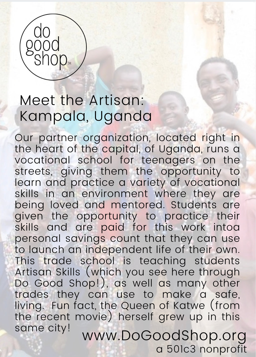 street kids rescued by ethical artisan employment sold through do good shop handmade in uganda