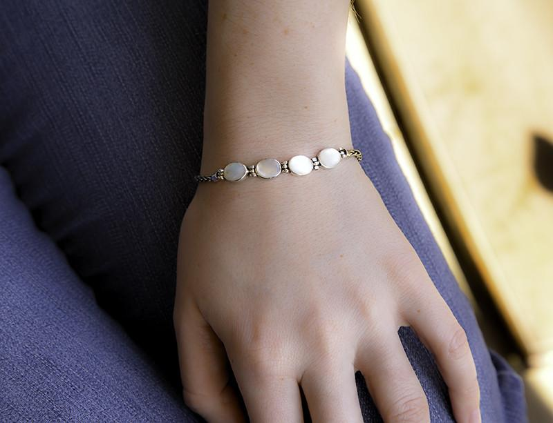 Sterling Silver Mother of Pearl Bracelet