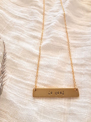 """Do Good"" Stamped Bar Necklace"