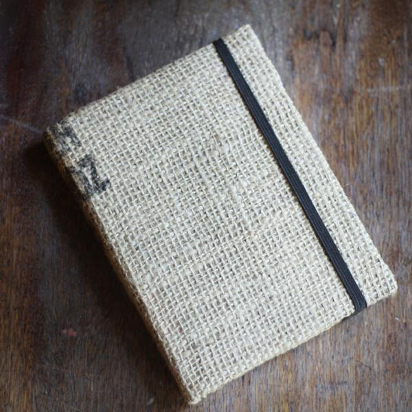 Burlap Upcycled Coffee Bag Journal