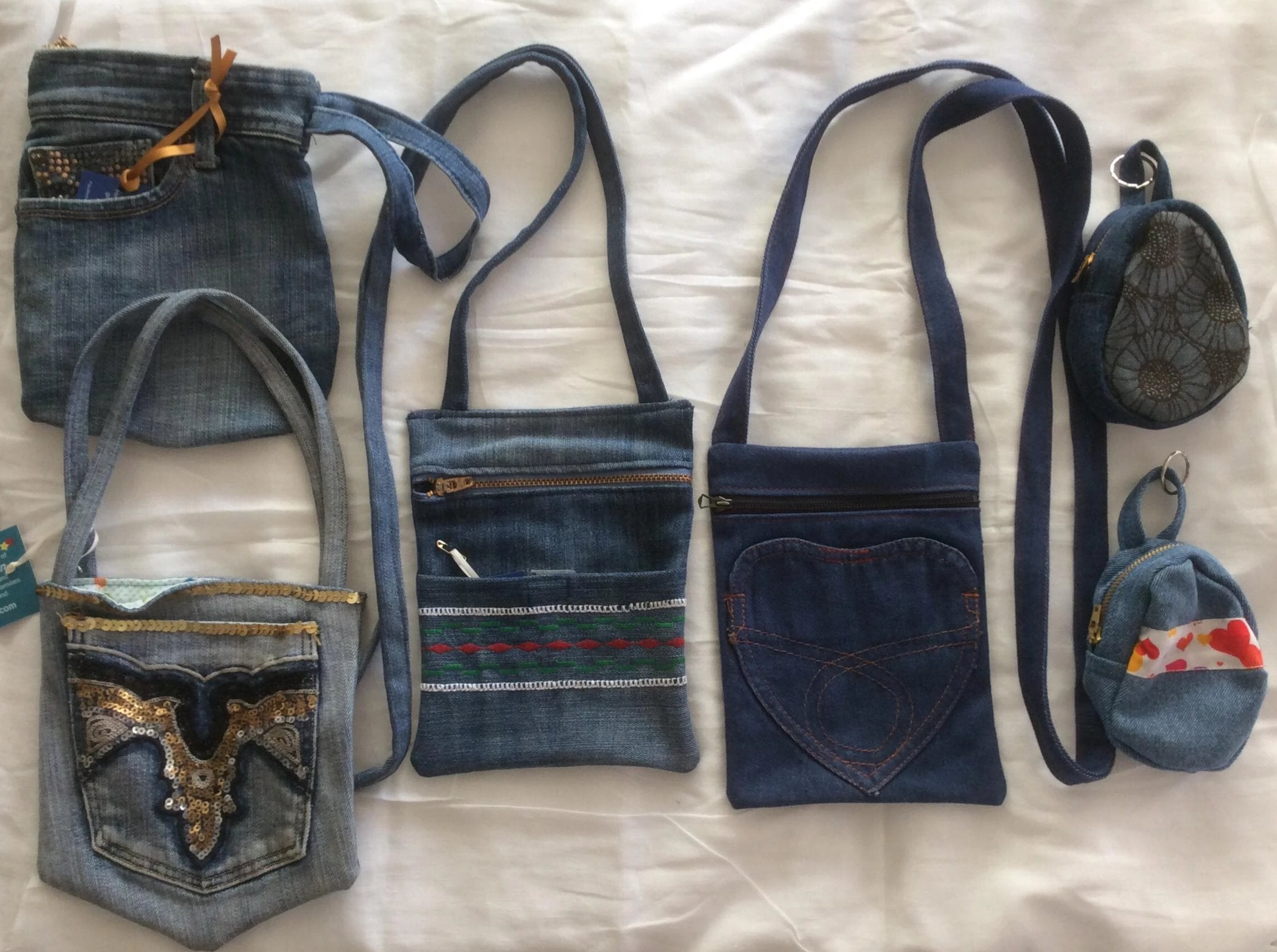Upcycled Denim ID/cell phone Crossbody - do good shop ethical gifts