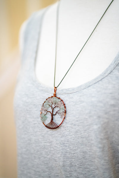 Tree of Life Pendant Necklace with Natural Stone