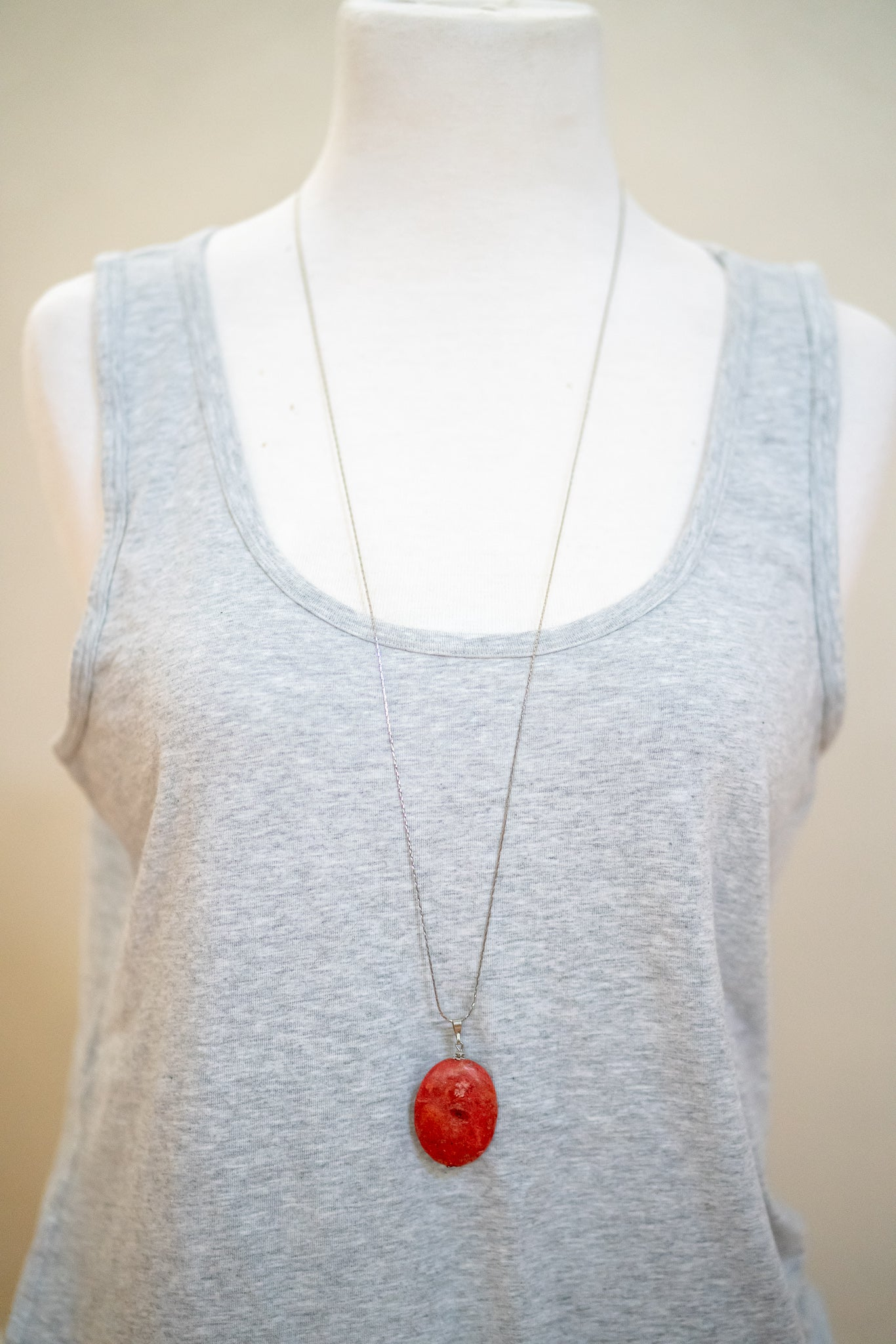Large Natural Stone Pendant Necklace