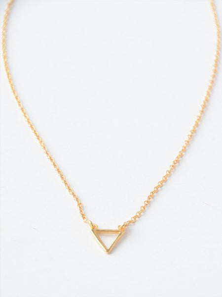 Simple Triangle Necklace in 14k gold - do good shop ethical gifts