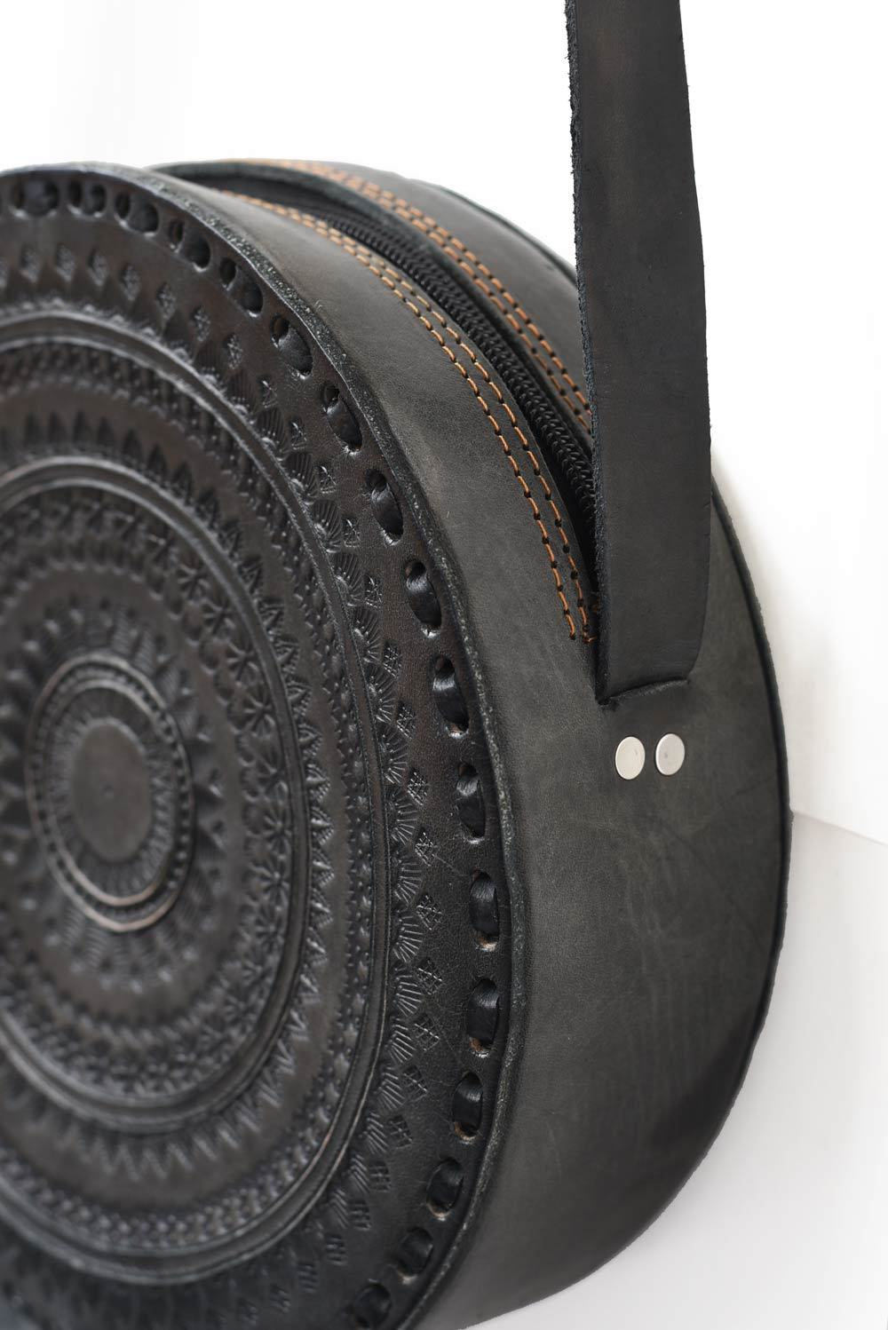 Embossed Leather Round Crossbody Purse - do good shop ethical gifts