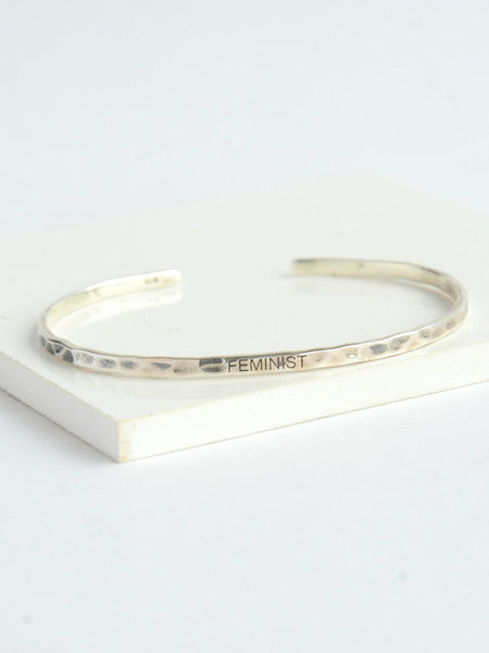 Sterling Silver Feminist Cuff (pre-order) - do good shop ethical gifts