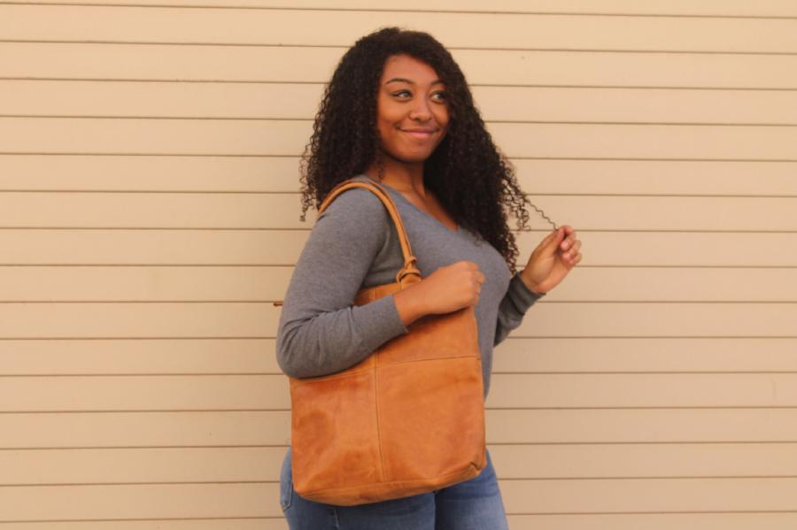 Ethiopian Leather Square Tote with lipstick pouch