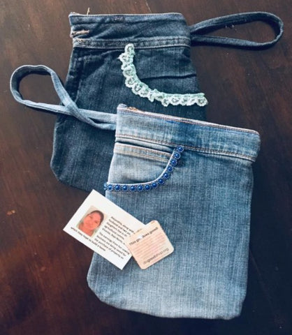 Upcycled Denim Wristlet - do good shop ethical gifts