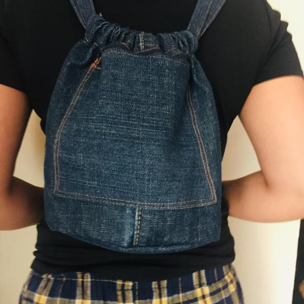 Upcycled Denim Cinch Bag - do good shop ethical gifts