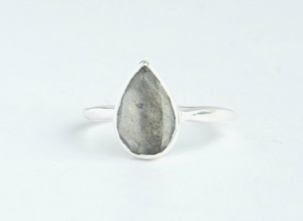 Labradorite Teardrop Ring in Sterling Silver - do good shop ethical gifts