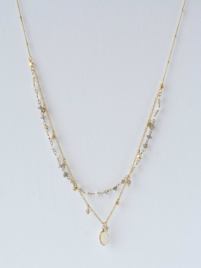 Double Strand Moonstone Charmed Necklace