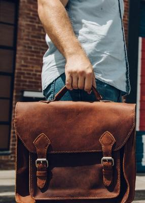 Leather Laptop Messenger Bag & Briefcase