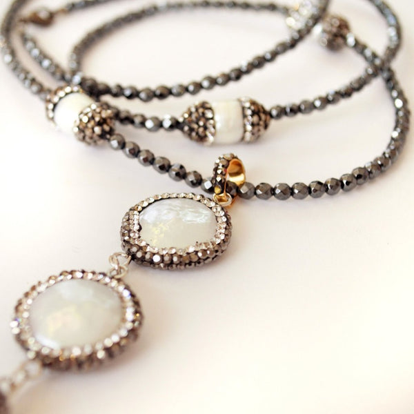 Coin Pearl and Crystal Long Length Necklace - do good shop ethical gifts