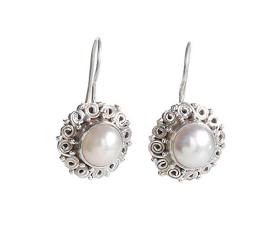 Genuine Pearl Drop Earrings set in Sterling Silver
