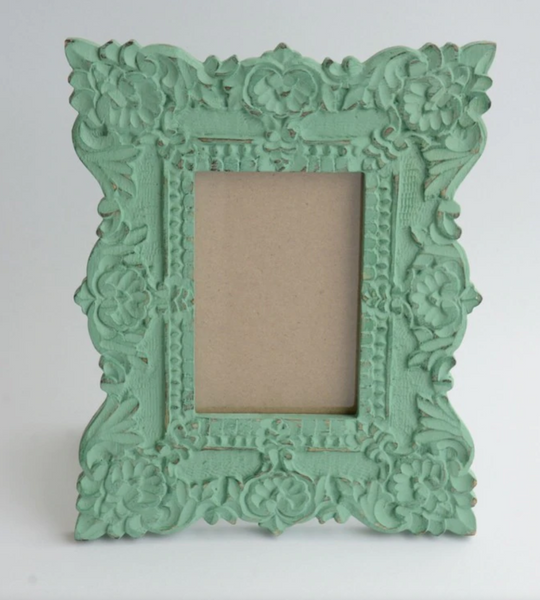 Carved Aqua Green Photo Frame