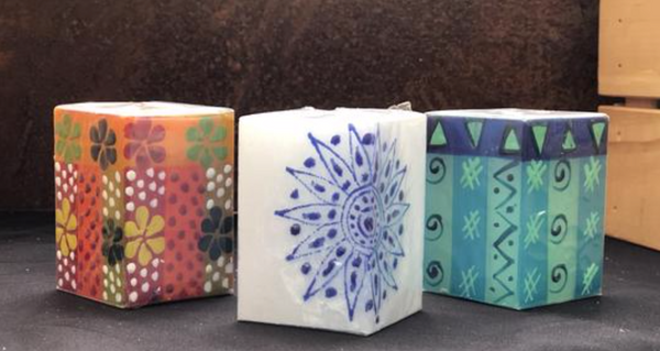Hand-painted Square Votives - do good shop ethical gifts