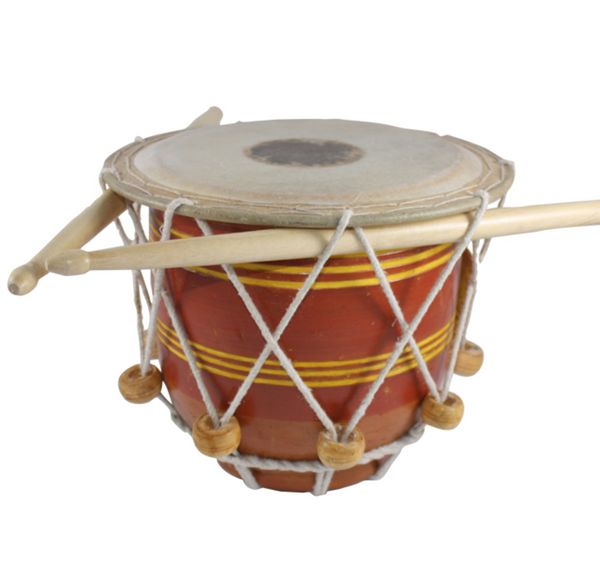 Terra Cotta Drum with Drumsticks