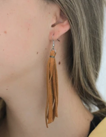 Leather Fringe Earrings - do good shop