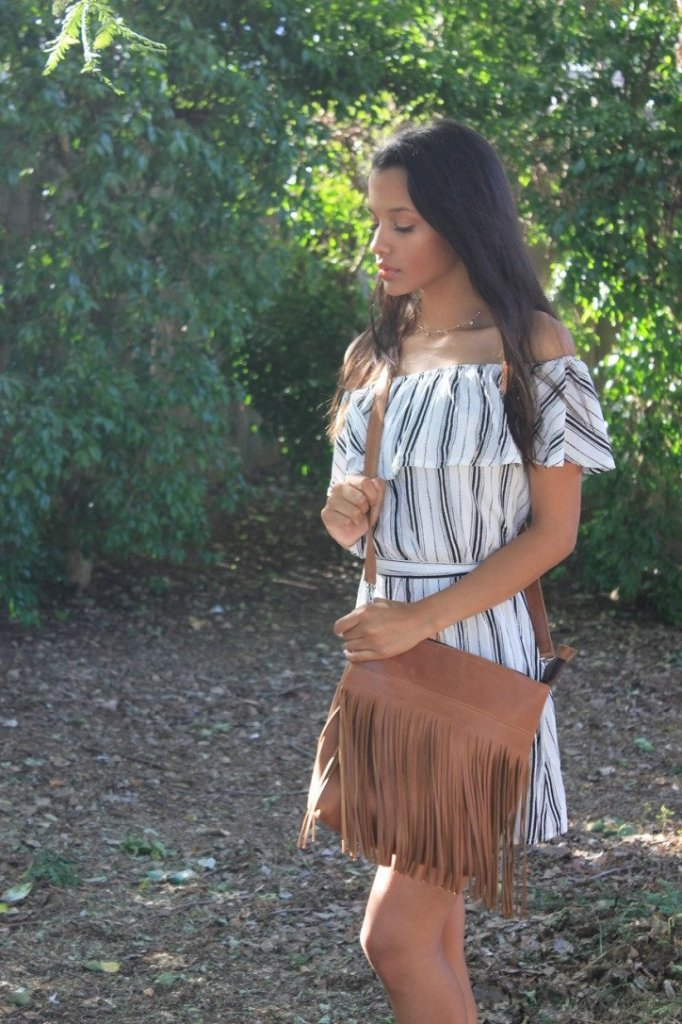 Leather Crossbody Bag with fringe