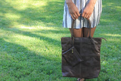 Genuine Leather Handbag with lipstick pouch - do good shop ethical gifts