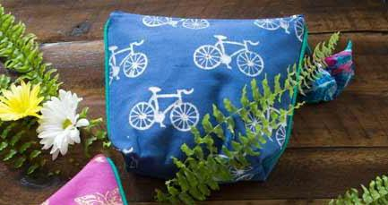 Metallic Block Print Cosmetic Bag - do good shop