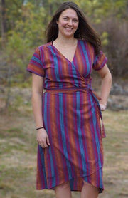 Cotton Wrap Dress with Pockets